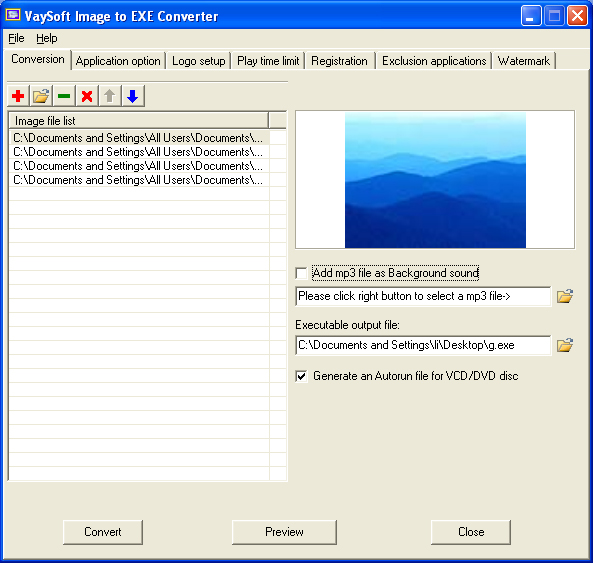 Windows 7 VaySoft Image to EXE Converter 4.52 full