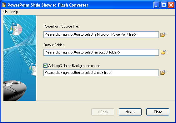 is a tool to convert PowerPoint image slide show to Flash, the world most popular platform independent format. By using it, presentations can be played on Windows, Linux, Macintosh and even Hand held PCs. Please visit  vaysoft.com for details!