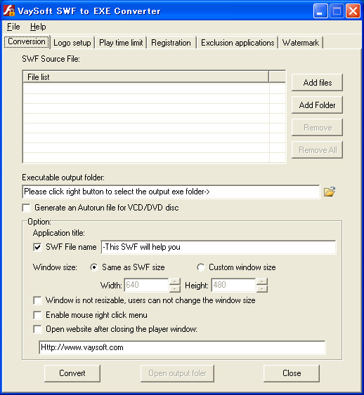 VaySoft SWF to EXE Converter full screenshot